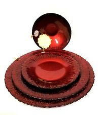 NEW SET RED FORGED GLASS GLITER DINNER,SALAD,BOWL,BUFFET PLATE,FOOTED CANDY DISH