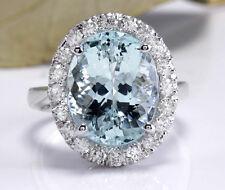 8.35 Carats NATURAL AQUAMARINE and DIAMOND 14K Solid White Gold Ring