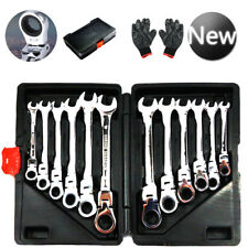 12 Piece Combination Spanners Flexible Ratchet Wrench Tool Set 8-19mm