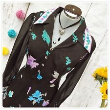 Vintage Black Floral Mod Dress UK14 1960s 70s Dagger Collared Button Detail