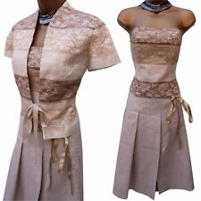 PHASE EIGHT Linen Lace Mother of the Bride Skirt Corset Jacket Suit Dress 10 UK