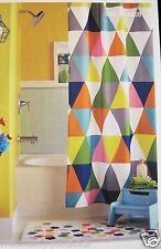 Circo Geometric Triangles shower curtain fabric Kids orange white yellow gray