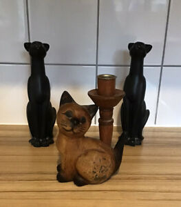 Mix Bundle Pair Of Tall Black Resin Cats & Wooden Cat With Candle Stick Holder