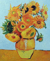 Van Gogh Still Life Sunflowers In Vase 20X24 Reproduction Oil Painting STRETCHED