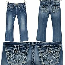 Big Star Remy Low Rise Boot Jeans Thick Stitch Back Flaps Pockets Womens 25R 26R
