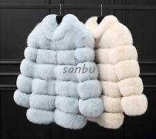 Womens Real Fox Fur Winter Warm Jackets Thicken Overcoat Outwear Parka Coat Chic