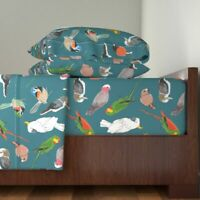 Parrot Birds Birds Design Birds 100% Cotton Sateen Sheet Set by Roostery