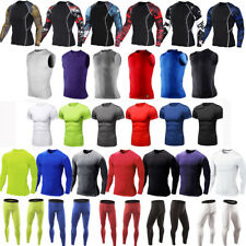 Men Compression Leggings Base Layer Tops Thermal Shirt Armour Skin Fitness Pants