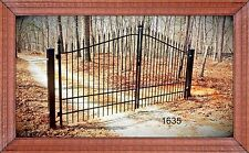 """""""Wrought Iron Style"""" Custom Built Driveway Entry Gate 11 FT Wide Dual Swing"""