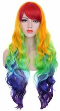 Hxhome Curly Multi Color Rave Neon Rainbow Halloween Costume My Little Pony Wigs