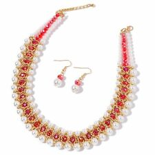 """RED WHITE FAUX PEARL BIB DRAPE NECKLACE AND EARRING GOLD TONE SET 22"""""""