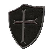 crusader templar cross black subdued ACU embroidered badge tag sew iron on patch