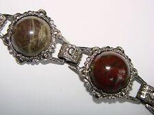 Vintage Jewellery Scottish Pebble Agate Cabochon Link Bracelet