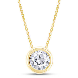 """1 Ct Diamond Simulated Solitaire Pendant Necklace 14K Solid Yellow Gold 18"""""""