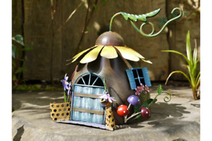 RUSTIC STYLE HAND PAINTED METAL FAIRY SUNFLOWER HOUSE GARDEN ORNAMENT UK SELLER