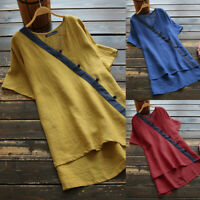 UK Women Short Sleeve Solid Tunic Tops High Low Summer Baggy V Neck Shirt Blouse