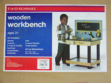 NIB FAO SCHWARZ large WOODEN toy WORKBENCH w chalkboard tools phone nuts & bolts