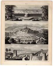 Festungsbau-Festungen Militaria-Militär Stahlstich 1851