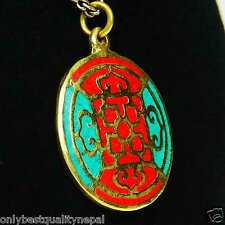 Mandala Multicolour Red Amulet Turquoise DHARMA TIBET NEPAL Indian Brass A97