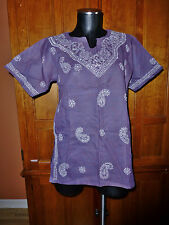 NEW INDIA Deep Purple COTTON Hand Embroidery ETHNIC Kurti Boho TUNIC TOP BLOUSE