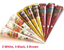 9 Cones White Black Brown Henna Cones Temp Tattoo Kit Body Art Free Shipping New