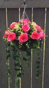 Beautiful Deep Pink Roses Trailing Artifical Hanging Basket