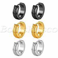 2pcs Men Women Stainless Steel Hoop Earrings Scrub Huggie Ear Studs Gift Jewelry