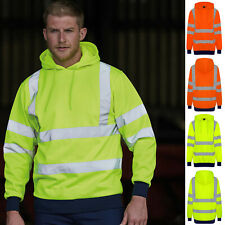 Hi Viz Hoodie High Vis Safety Visibility Sweater Two Tone Hoody Reflective Warm