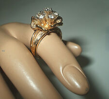 GENUINE VINTAGE 18k GOLD PLATED FLOWER RING WITH RHINESTONE CRYSTALS UK size 'L'