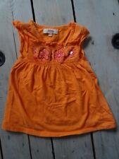 Débardeur sans manches orange brodé fleurs blanches & fuchsia SHINY Taille 4 Ans