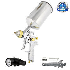 Pro 1.3mm Hvlp Gravity Feed Spray Gun w/ Regulator Auto Paint Basecoat Clearcoat