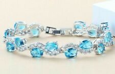 Sparkling Aquamarine Oval Crystals Wavy Chain Bracelet 925 Sterling Silver