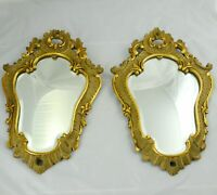 Antique Pair Wood Carved French Italian Beveled Mirrors 1920's 11 x 18