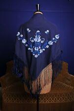 Vintage Estilo Piano Bordada Bufanda Chal Borla azul con motivos florales húngaro