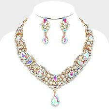 LUXE Celeb Gold AB Crystal Glam Cocktail Bridal Necklace Set Rocks Boutique