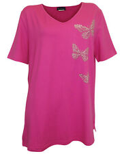 M. COLLECTION Shirt Schmetterlinge Gr 44 bis Gr 58 pink Übergröße Nieten