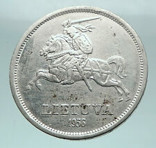 1936 LITHUANIA Silver 5 Litai JONAS BASANAVICIUS Vintage Lithuanian Coin i81563