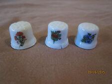Lot of 3 Vintage Porcelain Flower Thimbles Ceramic Flower Pot Shape