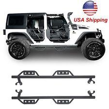 Textured Black Side Step Running Boards for Jeep Wrangler Unlimited JK 4Dr 07-17