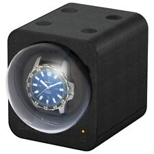 Boxy Fancy Brick Uhrenbeweger, PU-Leder, Schwarz, Ohne Adapter