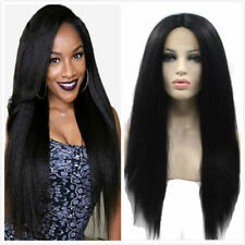 24'' Lace Front Wig Yaki Straight Afro Kinky Full Head Wig For Black Women
