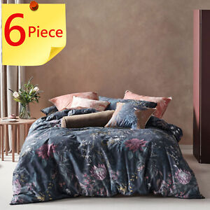 Linen House Acacia Garden Doona Quilt Cover Set | 6 Piece Pack | Super King