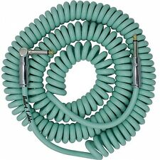 BULLET CABLE  30 FOOT COIL RIGHT ANGLE CURLY GUITAR INSTURMENT CABLE SEAFOAM GR