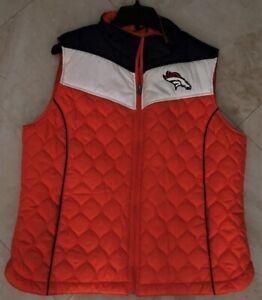 Denver Broncos Full Zip Vest Jacket Ladies XL Embroidered Logos Womens NFL
