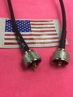 """12"""" UHF PL259 Male to Male plug Coax Pigtail Jumper Cable RG58; MADE IN USA"""