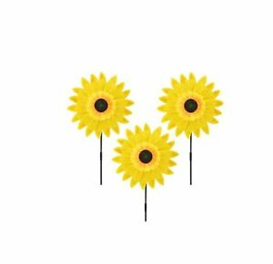 Lot of 3X Yellow Sunflower Windmill Wind Spinner Decoration Home Yard Garden Dec