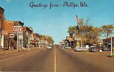 Phillips Wisconsin Greetings Main Street & Mobil Gas Vintage Postcard (J7059)