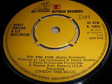 "NANCY SINATRA & LEE HAZLEWOOD 7"" VINYL DID YOU EVER REPRISE 1971 EX"