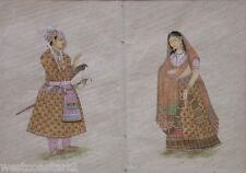 18 / 19 C Very Fine Company School Painting Man Woman Indian Art India