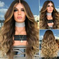 Women Brown Highlight Ombre Blonde Long Curly Head Wig Natural Wavy Hair Cosplay